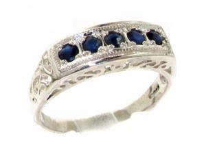 Luxury 925 Solid Sterling Silver Natural Sapphire Womens Band Ring - Size 5.75 - Finger Sizes 4 to 12 Available