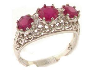Solid 9K White Gold Genuine Natural Ruby English Filigree Trilogy Band Ring - Size 8.25 - Finger Sizes 4 to 12 Available