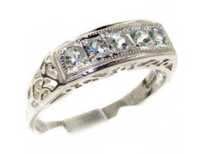 Luxury 925 Solid Sterling Silver Natural Aquamarine Womens Band Ring - Size 6.75 - Finger Sizes 4 to 12 Available