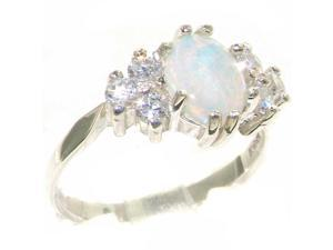 Sterling Silver Womens Opal & Cubic Zirconium Eternity Ring - Size 10.5 - Finger Sizes 4 to 12 Available