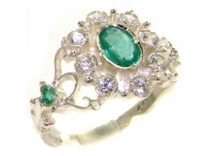 Solid 925 Sterling Silver Womens Emerald & Diamond Vintage Cluster Ring - Size 8.75 - Finger Sizes 4 to 12 Available