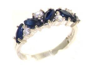 9K White Gold Womens Sapphire & 0.24ct 1/4ct Diamond Ring - Size 7.5 - Finger Sizes 4 to 12 Available