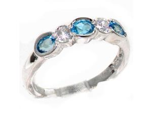 Solid 9K White Gold Womens Blue Topaz & Cubic Zirconia CZ Band Ring - Size 7 - Finger Sizes 4 to 12 Available