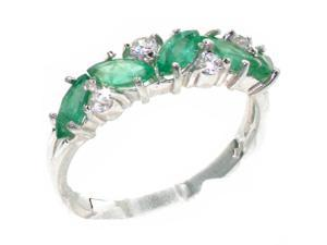 9K White Gold Womens Emerald & Cubic Zirconium Eternity Ring - Size 8.75 - Finger Sizes 4 to 12 Available