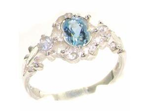 Solid 925 Sterling Silver Womens Blue Aquamarine & Diamond Ring - Size 5.25 - Finger Sizes 4 to 12 Available