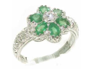 Solid 925 Sterling Silver Womens Emerald & Cubic Zirconia CZ Band Ring - Size 9.25 - Finger Sizes 4 to 12 Available