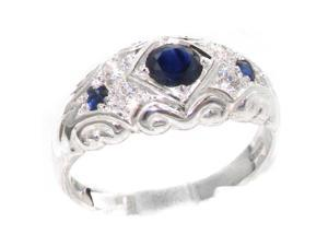 Solid 925 Sterling Silver Womens Sapphire & Cubic Zirconia CZ Band Ring - Size 9.25 - Finger Sizes 4 to 12 Available