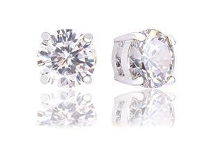 18k Gold Plated Round Cubic Zirconia Solitaire Stud Earrings (6.80 carats)