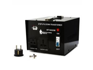 Rockstone Power 3000 Watt Heavy Duty Step Up/Down Voltage Transformer Converter - Step Up/Down 110/120/220/240 Volt - 5V USB Port - CE Certified