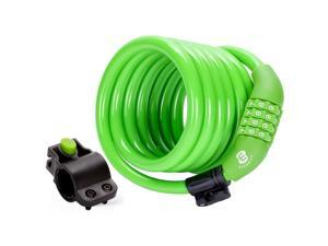 Etronic Security Bike Lock M6 Self Coiling Resettable Combination Lock Bike Cable Lock - 6-Feet x 3/8-Inch - Green