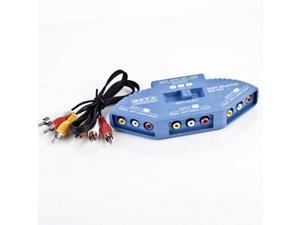 Topwin New 3 Port Input Channels RCA Adapter Switch AV DVD PS2 Audio Video Selector Cable