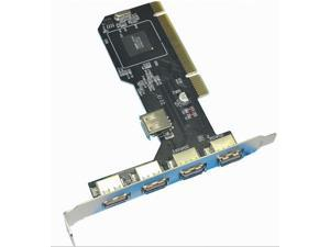 Topwin 480Mbps 5 Ports 4 External + 1 Internal USB 2.0 PCI Adapter Card