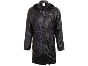 New Adidas Womens Classic Long Windbreaker Hooded Black Jacket / Coat Size M