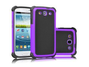 Galaxy S3 Case, Tekcoo(TM) [Tmajor Series] [Purple/Black] Shock Absorbing Hybrid Rubber Plastic Impact Defender Rugged Slim Hard Case Cover Shell For Samsung Galaxy S3 S III I9300 GS3 All Carriers