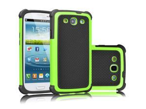 Galaxy S3 Case, Tekcoo(TM) [Tmajor Series] [Green/Black] Shock Absorbing Hybrid Rubber Plastic Impact Defender Rugged Slim Hard Case Cover Shell For Samsung Galaxy S3 S III I9300 GS3 All Carriers