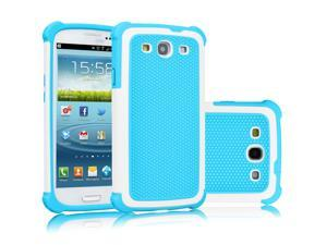 Galaxy S3 Case, Tekcoo(TM) [Tmajor Series] [Baby Blue] Shock Absorbing Hybrid Rubber Plastic Impact Defender Rugged Slim Hard Case Cover Shell For Samsung Galaxy S3 S III I9300 GS3 All Carriers
