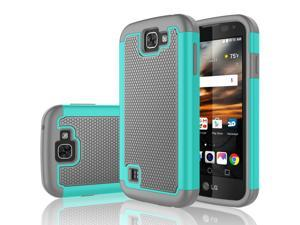 LG K3 Case, Tekcoo™ [Tmajor Series] Shock Absorbing [Turquoise/Grey] Hybrid Rubber Plastic Impact Defender Rugged Slim Grip Hard Case Cover Shell For LG K3 Boost Mobile / Virgin Mobile LS450