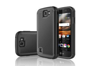 LG K3 Case, Tekcoo™ [Tmajor Series] Shock Absorbing [Black] Hybrid Rubber Plastic Impact Defender Rugged Slim Grip Hard Case Cover Shell For LG K3 Boost Mobile / Virgin Mobile LS450