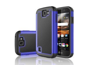 LG K3 Case, Tekcoo™ [Tmajor Series] Shock Absorbing [Blue] Hybrid Rubber Plastic Impact Defender Rugged Slim Grip Hard Case Cover Shell For LG K3 Boost Mobile / Virgin Mobile LS450