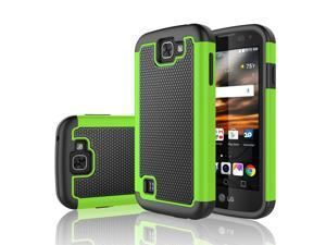 LG K3 Case, Tekcoo™ [Tmajor Series] Shock Absorbing [Green] Hybrid Rubber Plastic Impact Defender Rugged Slim Grip Hard Case Cover Shell For LG K3 Boost Mobile / Virgin Mobile LS450