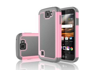 LG K3 Case, Tekcoo™ [Tmajor Series] Shock Absorbing [Baby Pink] Hybrid Rubber Plastic Impact Defender Rugged Slim Grip Hard Case Cover Shell For LG K3 Boost Mobile / Virgin Mobile LS450