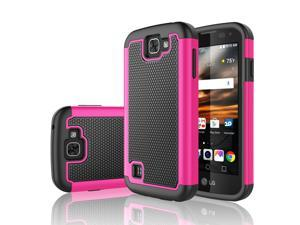 LG K3 Case, Tekcoo™ [Tmajor Series] Shock Absorbing [Hot Pink] Hybrid Rubber Plastic Impact Defender Rugged Slim Grip Hard Case Cover Shell For LG K3 Boost Mobile / Virgin Mobile LS450