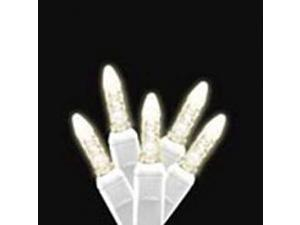 70 count Warm White LED Icicle lights on white wire