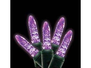 70 count Purple LED Icicle Lights Green Wire