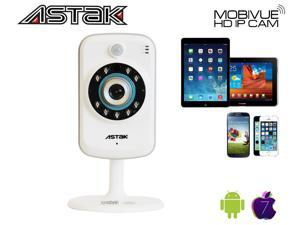 Astak® Mobivue 100 Megapixel HD 1280 x 720p H.264 Wireless IP Network Cloud Base Camera with  2 Way Audio IR-Cut Filter Night Vision Motion Detection Built-In DVR