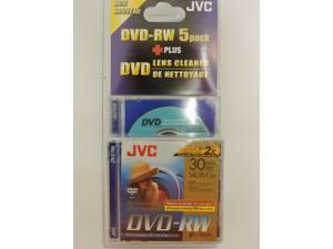 JVC DVD-RW 1.4Gb 8cm 30min Pack 5 + Cleaning Disc