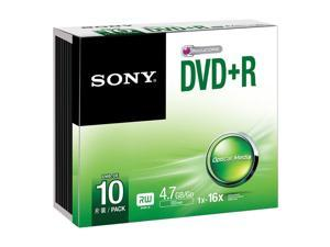 SONY DVD+R 4.7GB 16x pk 10 Slim Case recordable discs dvdr blank media
