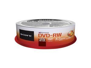 Sony DVD-RW 4.7Gb 25 Spindle speed 2x dvdrw rewritable discs blank media 25DMW47ASP
