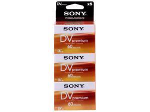 Sony Camcorder Premium Mini DV Tapes Pack 5 Cassettes 60 min MINIDV DVM60 DV60