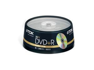 TDK DVD+R 8.5Gb 8x D/L Spindle 25 recordable discs blank storage media