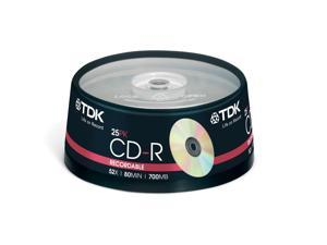 TDK CD-R 80 Spindle 25 CDR recordable discs cd r 80min blank media