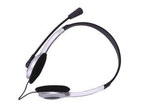Headphone with Mic Headset Wired 3.5mm Jack for PC Silver/Black