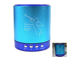 T-2020 Portable Mini Media Player Speaker 2-CH w/FM TF USB Mic Line-in Blue