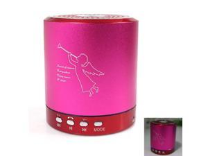 T-2020 Portable Mini Media Player Speaker 2-CH w/FM TF USB Mic Line-in Pink