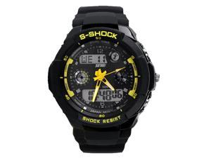 Skmei Yellow Digital Sport Watch With Fashion Face LCD Silicone For Men And Lady