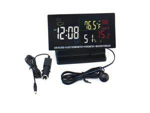 Vibob EE60 LCD Digital Car Clock - Thermometer Hygrometer Voltage Weather Forecast