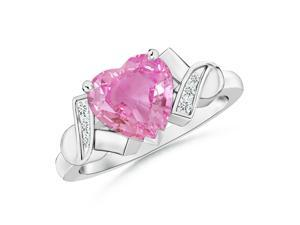 0.9ct. Solitaire Heart Pink Sapphire and Diamond Ribbon Shank Ring in 14K White Gold
