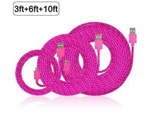 3Pcs 10Ft 6Ft 3Ft Nylon Braided Micro USB Charging Sync Data Cable Charger Extension Cord for Galaxy S7 S6 Edge S4 S5 Note 4 5 Tab, Moto G X, Nexus 5 6 HTC M9 and more Android Devices Hot pink