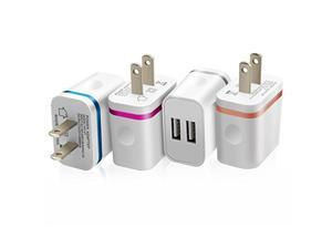 SEGMOITM 4Pack 5V/2.0Amp US Plug Dual USB Port 2 Ports Travel Wall Charger Easy Grip Home Power Adapter for iPhone 6S SE 5S iPad Mini 4 3 Samsung Galaxy Note 5 4 Motorola Nokia Sony HTC LG Huawei