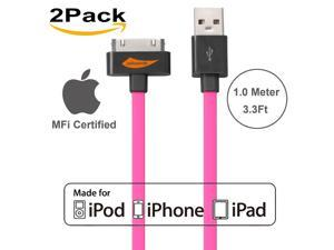 [Apple MFI Certified] 2Pack Yellowknife® 3.3ft/1m Noodle Flat 30Pin to USB Data Sync Charger Cable Charging Cord for Apple for iPhone 4s 4 3GS iPad 1 2 3 iPod Touch 4th iPod Nano 6th Gen - Hot Pink