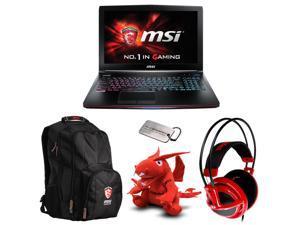 MSI Exclusive Gaming Bundle - GE62 Apache-276 Gaming Laptop, Gaming Notebook Backpack, Gaming Headset, MSI Dragon Plush Doll, and MSI Military Dog Tag
