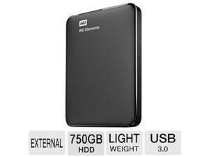 WD Elements 750GB Portable USB 3.0 Hard Drive - Black