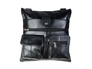 CHAMPS Genuine Leather Unisex Bag - Black