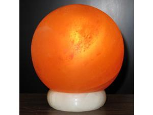6-in. Wide - Round Crystal Salt Lamp Globe - on Onyx Marble Base - Spherical Himalayan Salt Lamp