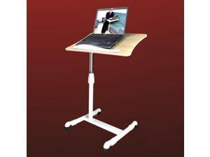 Portable Laptop Desk Tray Caddy Double Boards Adjustable Laptop Cart in birch