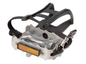 Diamondback 9/16 Spindle Alloy Atb Pedals With Clips And Straps, Silver